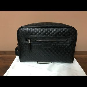 New Gucci microGG leather black toiletry pouch/bag
